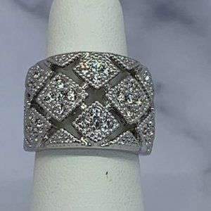 RS Covenant Wide Crystal & Rhodium Band